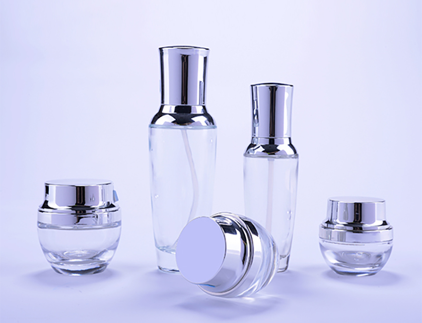 Glass Cosmetic Cream Jar and Glass Bottle