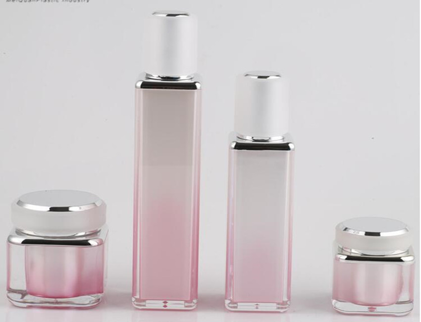Pink Square Cosmetic Bottles
