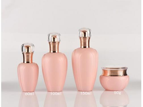 Pink Glass Pump Bottles